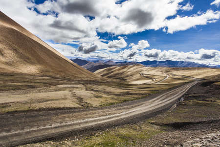 swerving: Mountain road in Tibet, China