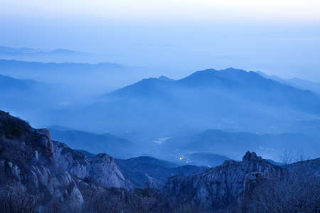 physical geography: Dawn in Chinese national famous mountain Taishan LANG_EVOIMAGES