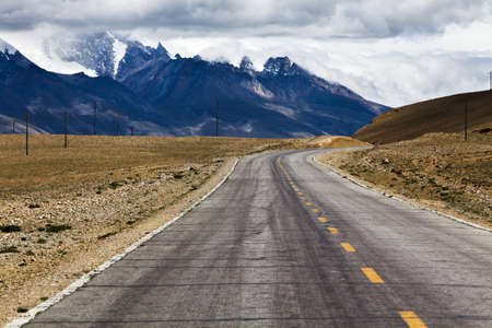 swerving: Road in Tibet, China
