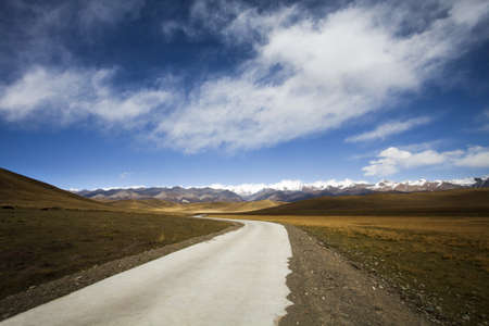 swerving: Road leading through Qilian mountain,China