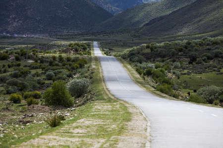 vanishing point: Road in Tibet, China