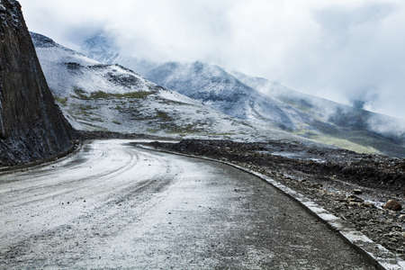 swerving: Winding road in Tibet, China