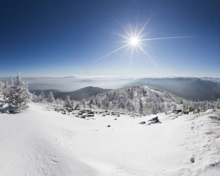 Sun shining on snow, China LANG_EVOIMAGES
