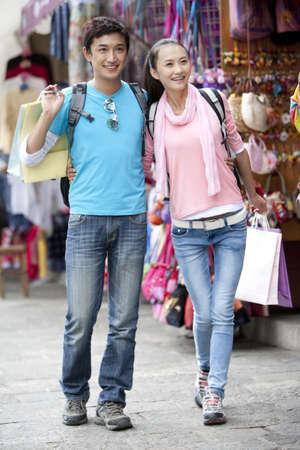 Young couple enjoying shopping