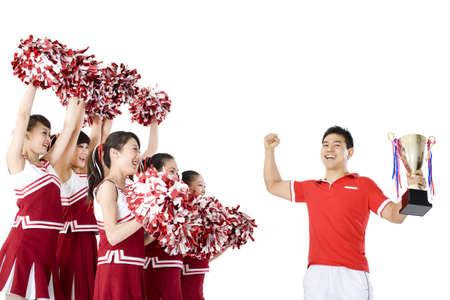 Cheerleaders celebrating a win