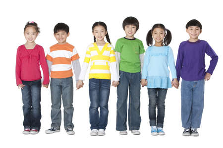 multi age: Children holding hands