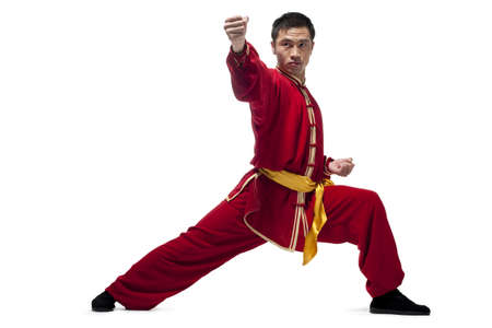 punched out: Man In Traditional Chinese Clothing doing Martial Arts LANG_EVOIMAGES