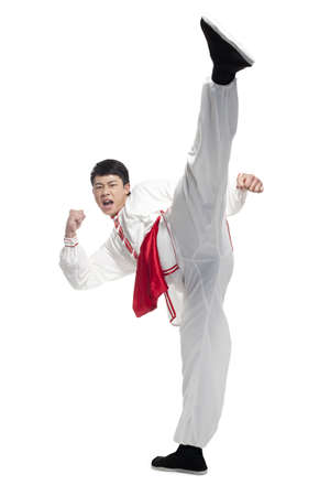 Man In Traditional Chinese Clothing doing Martial Arts LANG_EVOIMAGES