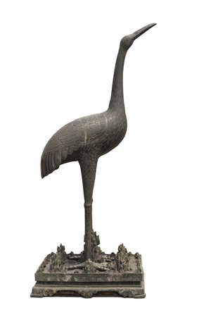 Chinese coppery crane sculpture