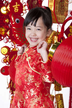 Portrait of a cute Chinese girl in traditional clothing
