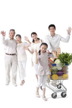 full shot: Multi-Generational Family Grocery Shopping