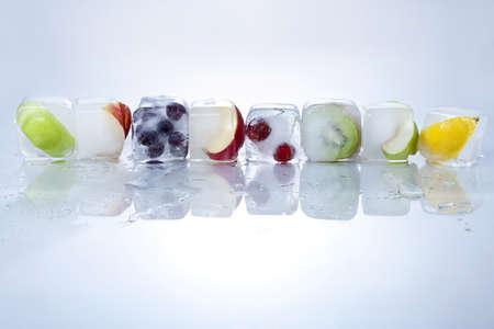 Frozen Fruit on White Background