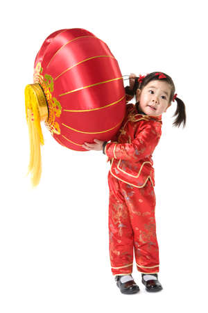 Young girl with Chinese traditional red lantern