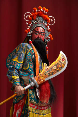 Guang Gong, Ancient Chinese General in Beijing Opera Costume, Represents Protection and Wealth LANG_EVOIMAGES