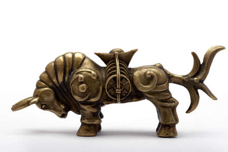 A bronze bull, representing luck and wealth