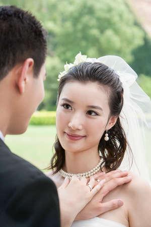 A bridge and groom on their wedding day