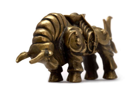 lucky charm: A bronze bull, representing luck and wealth