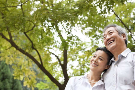 Senior Chinese couple in a park