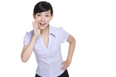 Businesswoman Covering Mouth and Talking