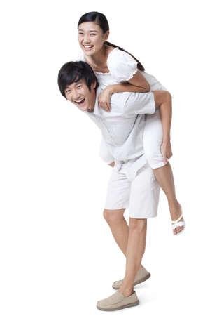 pantalones abajo: Hombre, llevando, mujer, espalda