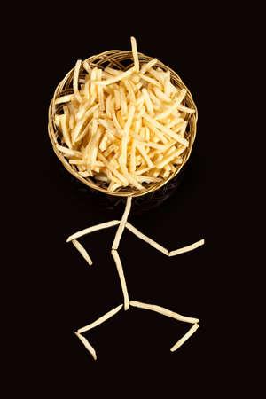 Potato chips in human figure