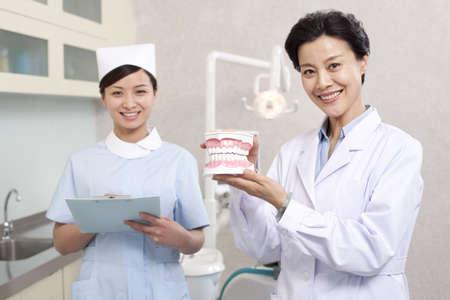Dentist and nurse in dental clinic