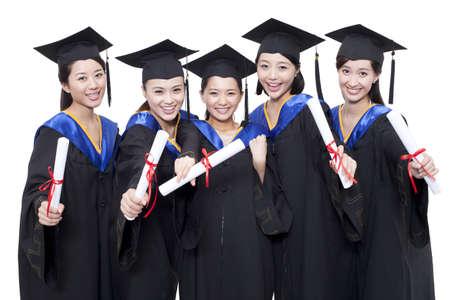 alumnae: Portrait of alumnae holding diploma
