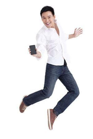 Young man showing mobile phone