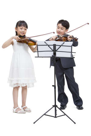 Boy and girl playing the violin