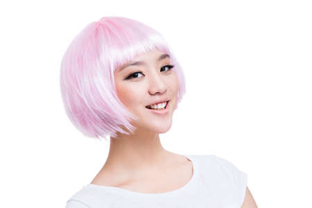 Young woman with pink wig