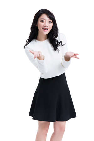Cheerful young woman gesturing