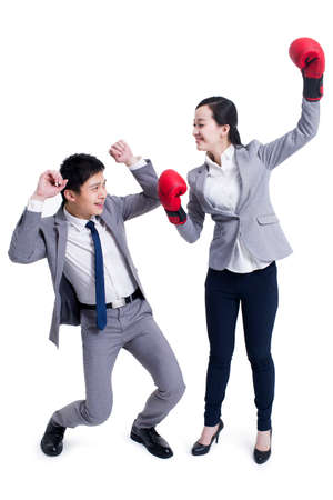 punched out: Business people fighting LANG_EVOIMAGES