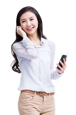 Young woman enjoying music on the phone