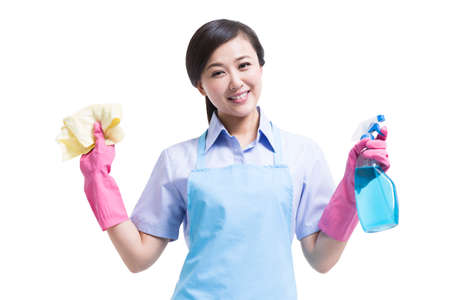 Female cleaner with cleaning product
