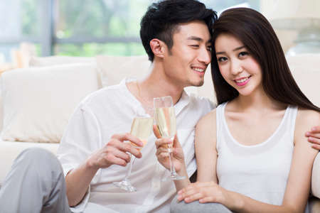 Cheerful young couple drinking champagne in living room LANG_EVOIMAGES