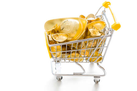 Chinese traditional currency yuanbao in shopping cart