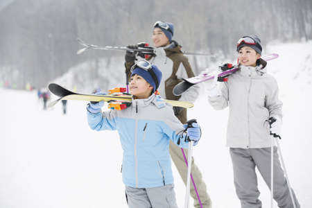 ski walking: Young family skiing in ski resort