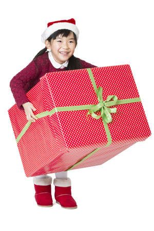 cardboard only: Happy girl and Christmas gift LANG_EVOIMAGES
