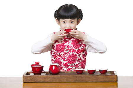 kettles: Happy girl performing tea ceremony