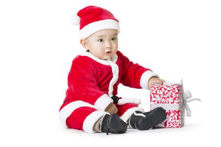niños vistiendose: Santa bebé celebración de regalo de Navidad