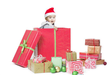 Cute baby in Christmas gift box
