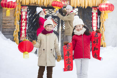 Young family celebrating Chinese new year