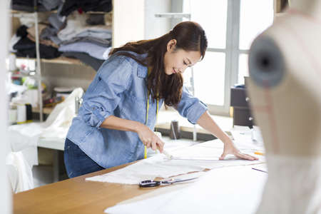Fashion designer working in studio