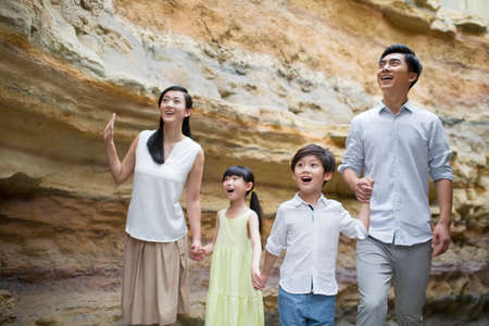 rock strata: Young family in museum of natural history