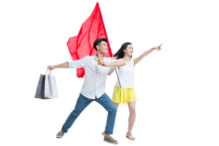 Young couple shopping with a red flag LANG_EVOIMAGES