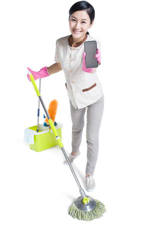 Cleaner showing a smart phone