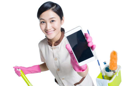 cleaning service: Cleaner showing a smart phone