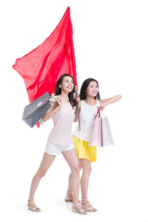way out: Best female friends shopping with a red flag LANG_EVOIMAGES