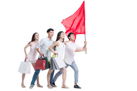 Young adults shopping with a red flag LANG_EVOIMAGES