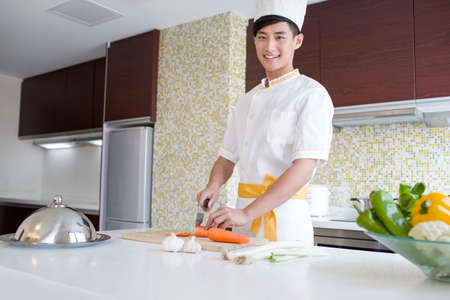 one man only: Chef providing cooking service in customers home